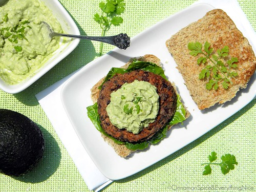 Southwest Black Bean Burgers with Guacamole Cream
