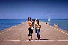 M&J @Port Dalhousie (Mel Romero) Tags: blue summer sky dog water boats pier jasmine michelle gon portdalhousie canon7d