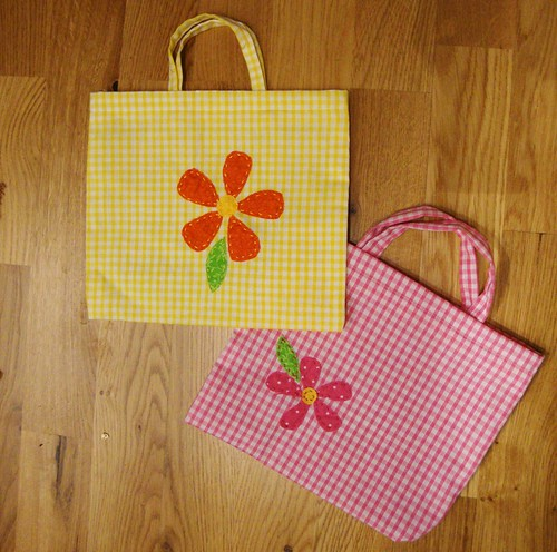 Homemade fabric party bags