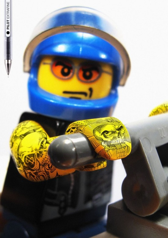 Lego toys with tattoos