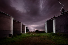 Back on the Farm (Sheldon Nalos) Tags: longexposure composite night landscape corn midwest farm flash iowa thunderstorm lightning soybeans strobe grainbins canon1dsmarkiii sheldonnalos