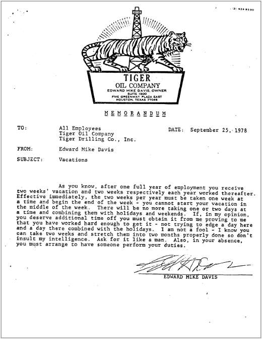 Letters of Note: The Tiger Oil Memos