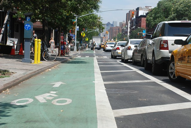 A bike lane in Manhattan