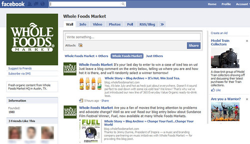La página de Whole Foods Market en Facebook