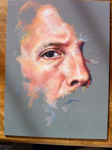 In-progress Colored Pencil portrait entitled Self Portrait VII