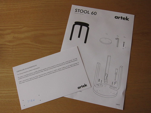 Warranty and manual of artek STOOL 60