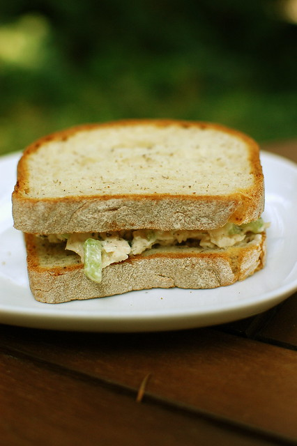chicken salad sandwich on Udi's bread