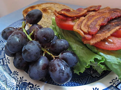 Day 223 - Lunch (MissTessmacher) Tags: food fruit canon tomato bacon sandwich lettuce grape blt s90 day223 xyz project365 project36612010 project365110810 project36511aug10 dwcfffood