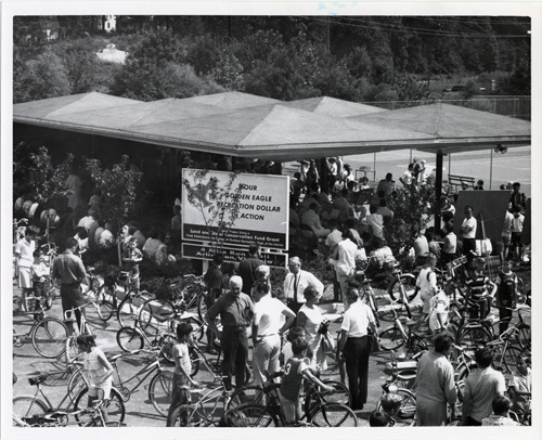 Four Mile Run bicycle path opening, 1967