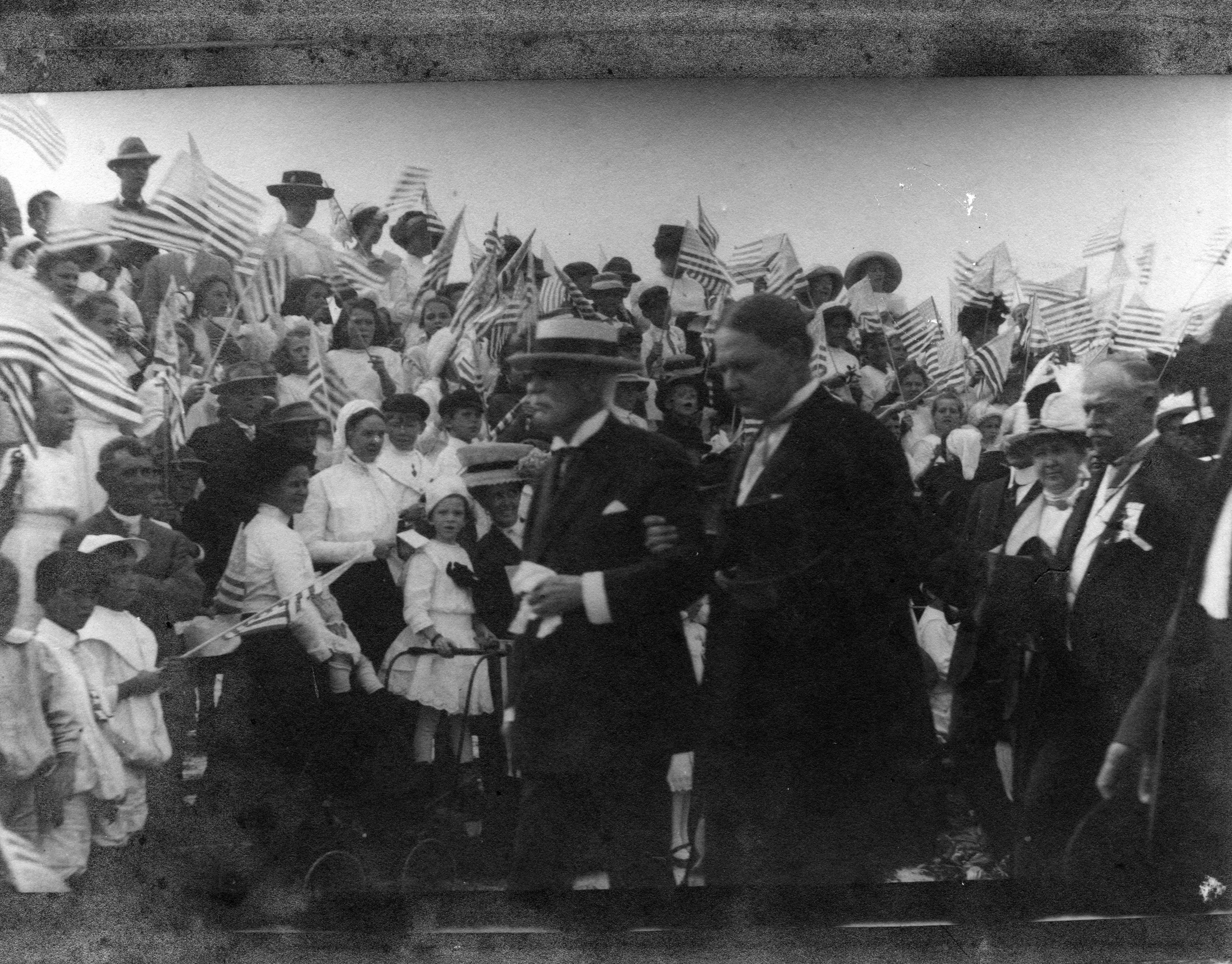 Florida East Coast Railway, Key West Extension. 1st Train Celebration, January 22, 1912. Henry M. Flagler, and Dr. Jos. N. Fogarty (Mayor). Gift of Mrs. W. R. Warren. Property of the Florida Keys Public Library.