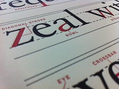 Zeal (scottboms) Tags: red black print typography design type iphoto projects letterpress limitededition lls lessonplan lunarcaustic ligatureloopstem heidelbergcylinderpress