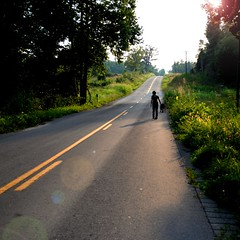 how many roads must a clich walk down? (TheBigPineapple) Tags: road county trees shadow summer usa dog nature girl lines yellow rural america landscape evening countryside photo kentucky country picture july olympus christian flare hcs e420