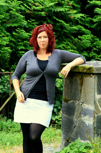 Millefiori cardigan, stone pillar and I
