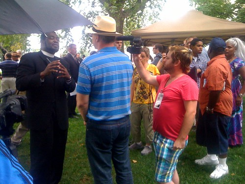Courage Campaign founder Rick Jacobs confronting Bishop Harry Jackson