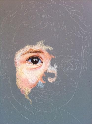 In progress colored pencil portrait entitled Emre at 16 Months