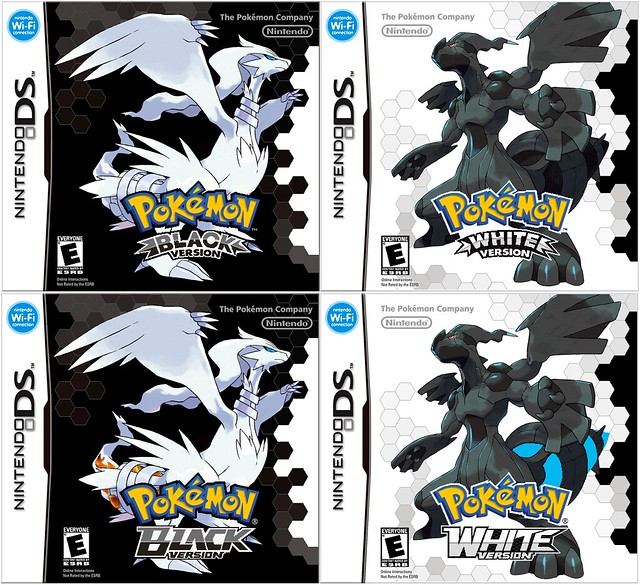 Pokemon Black and White Box Art NA3. logo change.