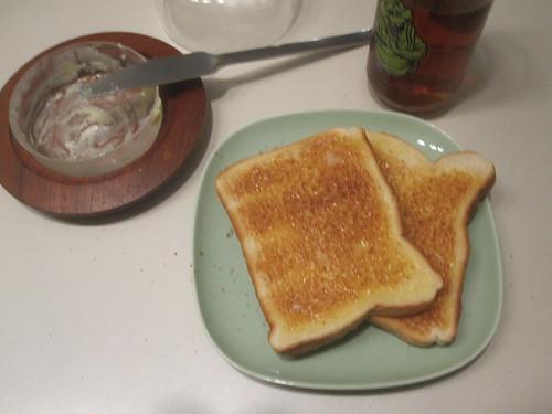 Buttered toast, ice tea