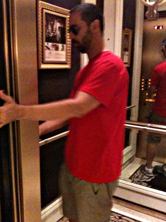 husband in the elevator