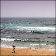 Solitude (Pilar Azaa) Tags: sea sky espaa woman beach water rain umbrella mar lluvia mujer spain agua solitude playa cielo soledad paraguas cantabria tagle mywinners superlativas playadetagle 100commentgroup pilarazaa peopleenjoyingnature