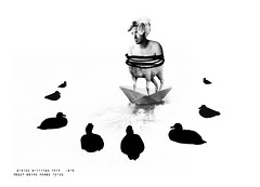 furious duck (miri orenstein) Tags: collage illustration sheep ducks paperboat phothoshop