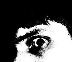 Stop Staring (EEKaWILL) Tags: portrait blackandwhite house selfportrait eye monochrome face contrast casa eyeball myhouse stupid stare staring selfie twotone