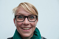 johanna (einsteinsmonster) Tags: portrait smile liverpool glasses nikon women blonde scarfe 30mm d90 einsteinsmonster