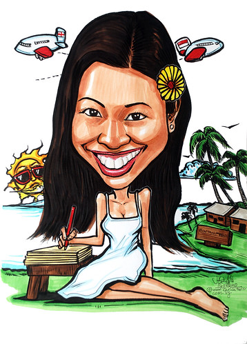 teacher caricature at Bintan Resort
