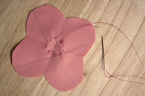 Step 5: Sew a Running Stitch in a Circle Around the Flower Shape