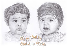 Happy Birthday Mithula Nithila (Light and Life -Murali ) Tags: girls art girl pencil sketch twins drawing wish fraternal fraternaltwins twines
