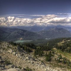 Looking down from Blackcomb (ecstaticist) Tags: summer sky cloud mountain holiday canada rock square landscape fun whistler bc pentax rocky columbia gondola british hdr blackcomb kx 3x peaktopeak