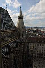 View from The Bell Tower of St. Stephen's Cathedral, Vienna (-RejiK) Tags: vienna people history church austria nikon steffi view cathedral towers august belltower tiles activity ststephens stephansplatz southtower d90 viennavisit august2010
