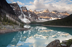 Moraine lake Double Light Band (Grant Ordelheide) Tags: travel light mountain lake canada reflection sunrise rockies interesting banff unusual lakelouise canmore moraine 2010 morainelake canadianrockies valleyofthetenpeaks grantordelheide