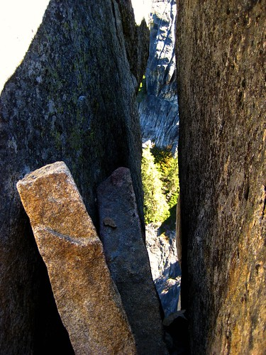 looking through a crevice, on top of a hike at Yosemite
