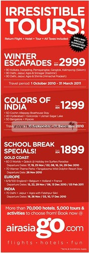 Irresistible Tour packages by AirAsia to India, Europe, Gold Coast