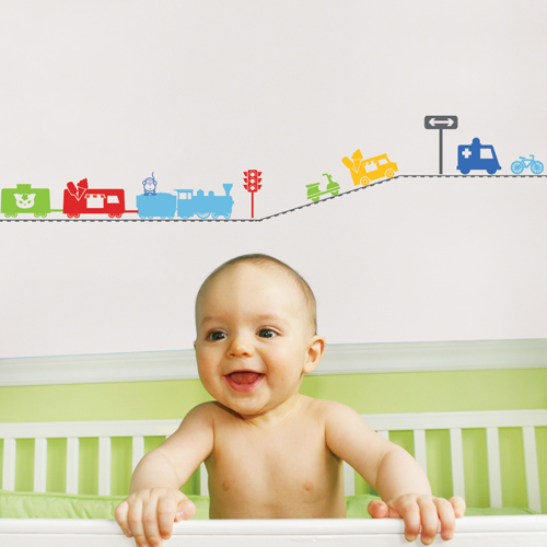 baby wall stickers; kids-decal-train