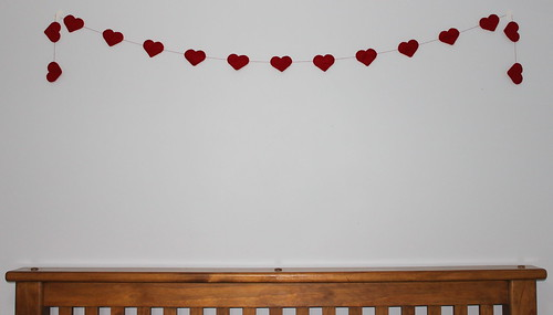 Red felt heart garland