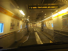 Driving through the carriages inside the Eurotunnel train