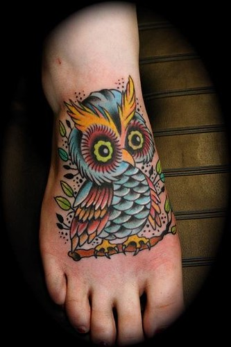 traditional owl tattoo. owl tattoo. By Dave Kruseman