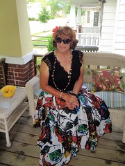 Call It Vanity If You Will, But I Don't Dress Like This Just To Blend Into The Backgroung (Laurette Victoria) Tags: porch skirt woman laurette milwaukee auburn necklace