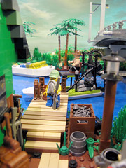 Airboat at the Dock at Midnight Pass (M.R. Yoder) Tags: river dock lego diorama airboat wate moc