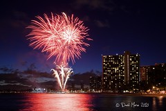 Waikiki Fireworks (David Morse) Tags: ocean park blue trees light red sea sky orange usa cloud brown white black tree green beach nature water yellow night clouds america canon landscape geotagged island 350d xt gold hawaii us sand rocks surf waikiki oahu gray wave canon350d honolulu rebelxt morse canondigitalrebelxt naturesfinest coth supershot davidmorse anawesomeshot theunforgettablepictures absolutelystunningscapes flickrclassique newgoldenseal