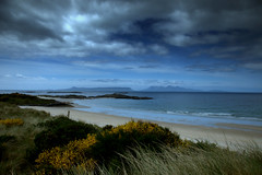 Aqua Scotland (Deborah Valentin) Tags: ocean flowers blue sea white mountains nature water floral beautiful yellow clouds landscape scotland sand aqua x serenity secluded arisaig wideopenspaces nicolasvalentin