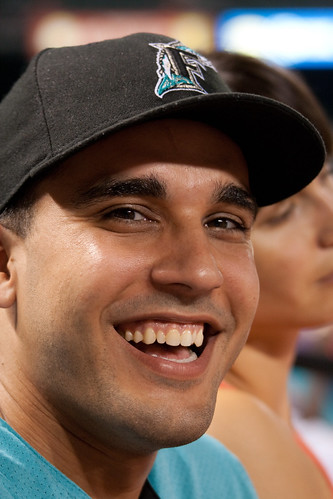 Dan at the Marlins v Orioles Game in a Marlins Cap