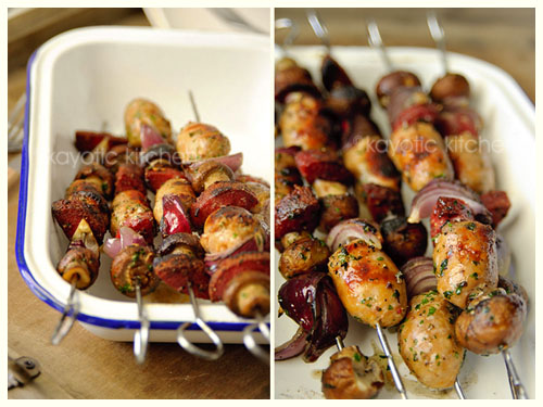 Sausage, Onion and Mushroom Kabobs