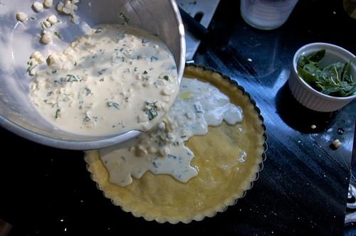 into the tart pan