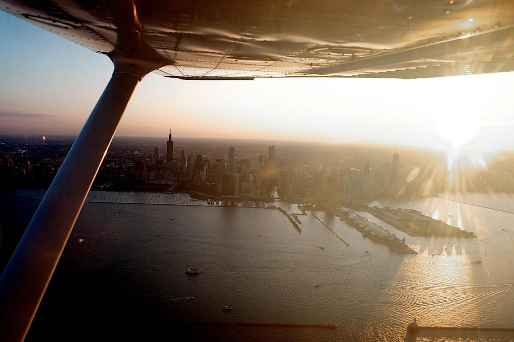 Sunset Cessna Flight - Chicago - 6/29/10