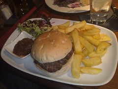 Rump steak burger at The Queens Arms, Edinburgh