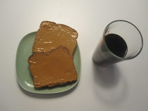 Peanut butter on toasts, diet coke