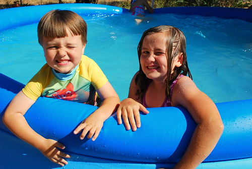 kids in a pool