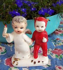 Vintage Angel and Devil Figurine (MissConduct*) Tags: japan angel vintage devil figurine fleamarket find